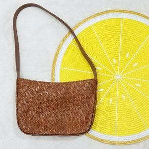 Vintage Woven Straw Fossil Mini Handbag DD7