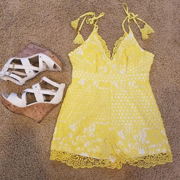 c88ca4892e1b Yellow lace crochet romper jumpsuit