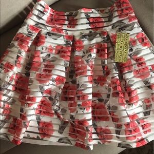 NWT Floral Mini Fit and Flare Skirt