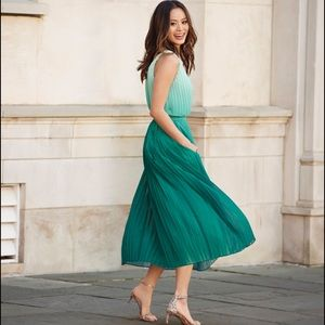 Banana Republic pleated ombré chiffon midi dress