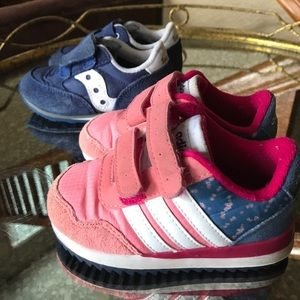 Adidas size 5 AND Saucony size 5.5 girls shoes