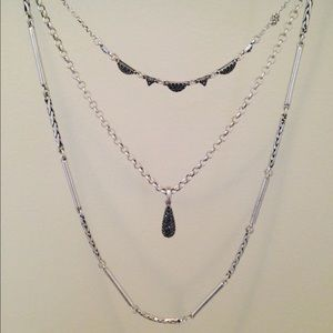 Lucky Brand Silver Layered Long Necklace