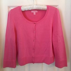 Lilly Pulitzer pink cropped 3/4 sleeve sweater