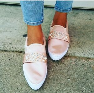LAST PAIR!!//The Melody// Pink Satin pearl sneaker