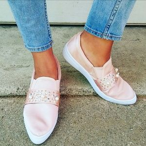 //The Melody// Pink Satin pearl embellish sneaker