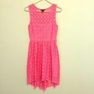H&M Hot Pink Lace Dress with High-low Hem Sz XS