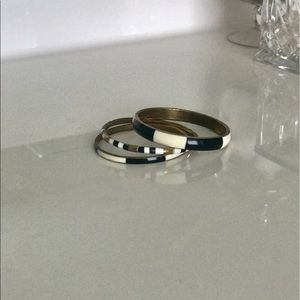 Jewelry - Set of 3 gold black and white bangles