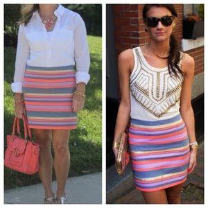 J. Crew shiny stripe mini skirt