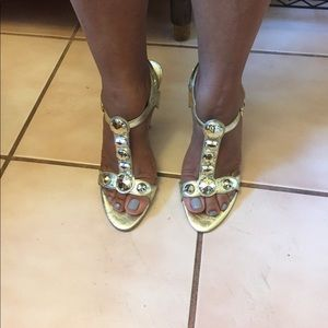 Guess by Marciano Shoes - Guess Gold Leather high heel sandals