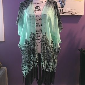 Other - Black and Mint Kimono with Fringe