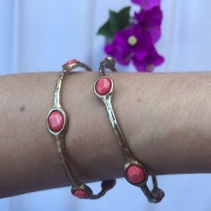 Jewelry - Gold with coral bangles