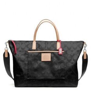 Coach Legacy Signature Nylon Weekender Tote Bag