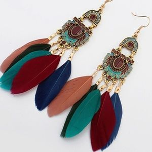 Only 2 left! Boho multicolored feather earrings