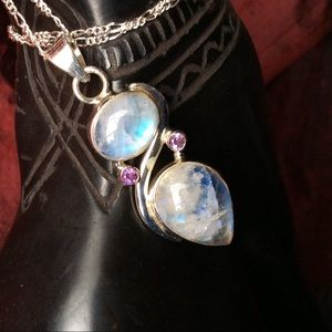 Moonstone & Amethyst Necklace NWOT