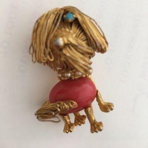 Jewelry - Vintage Shaggy Dog Pin w/TURQUOISE EYE
