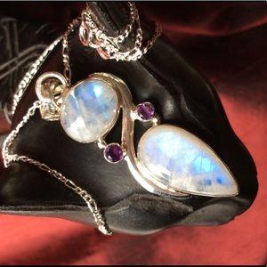 Genuine Moonstone & Amethyst Necklace NWOT