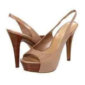 JESSICA SIMPSON Astor NUDE Patent Leather Peep Toe