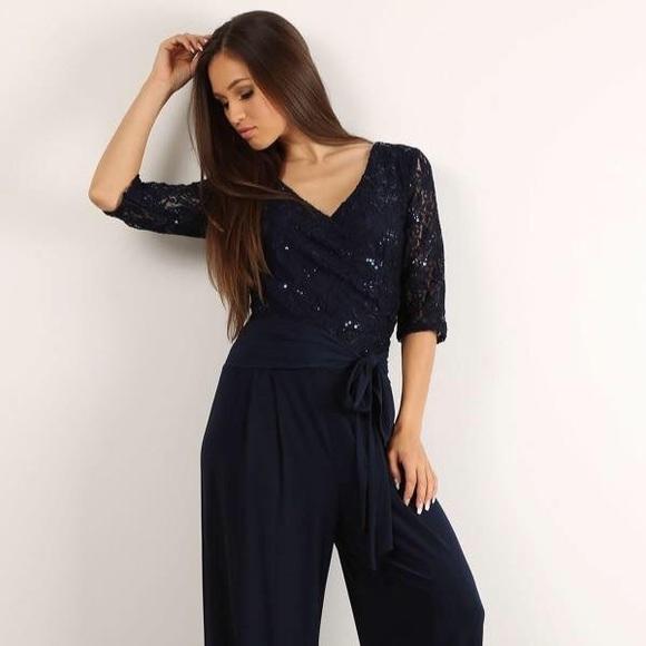 Pants Black Sequin Lace Jumpsuit Plus Size Poshmark