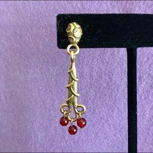 Antiqued Gold/Ruby Stone Dangle Earrings