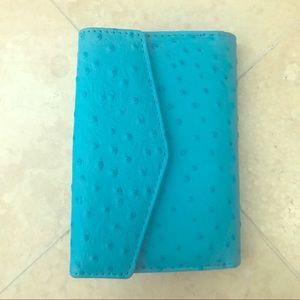 Handbags - Genuine Leather Blue Ostrich Wallet