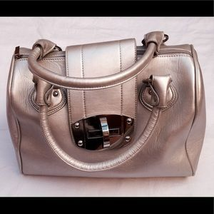 Handbags - Eye Catching Silver on Silver Satchel Bag