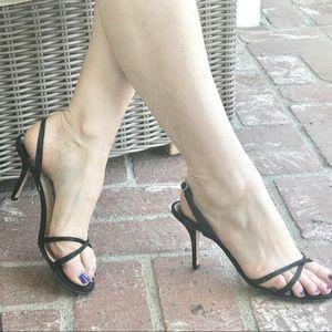 JIMMY CHOO black sandals HEELS Strappy slingback 9