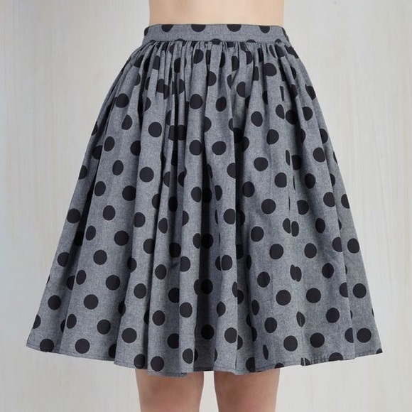 a8d0f34d08 ModCloth Saturday Sojourn Gray Polka Dot Skirt. M_5967e6df4225bea61600155f