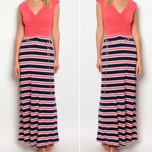 Sweet Sassy Vines Boutique Dresses - S-L Coral w/stripes dress