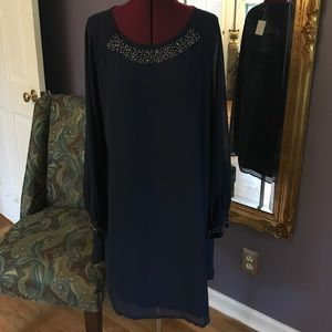 NEW Victoria Secret Navy Blue Beaded Sleeve Dress