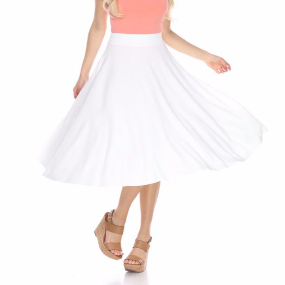 bc5f10d6b667b WM White Flared Midi Skirt with Pockets 709-03