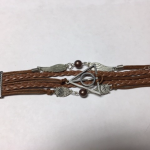 Brown Deathly Hallows Bracelet (two beads)