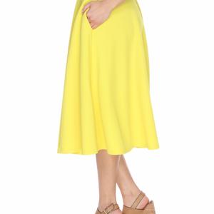 813872e6478fa White Mark Skirts - WM Yellow Flared Midi Skirt with Pockets 709-08