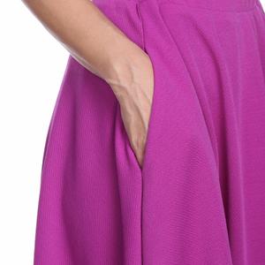 White Mark Skirts - WM Purple Flared Midi Skirt with Pockets 709-09