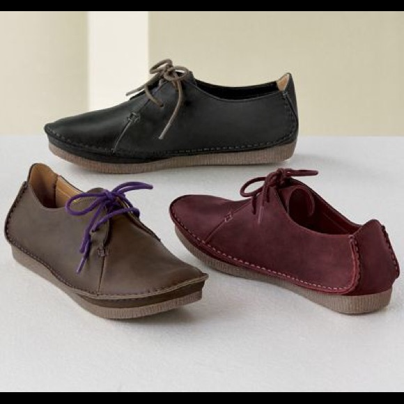 Clarks Janey Mae burgundy leather shoes