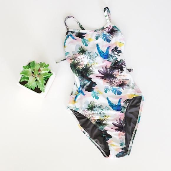 Jolyn Clothing Swim Jolyn Palm Tree Leaf Printed Onesie