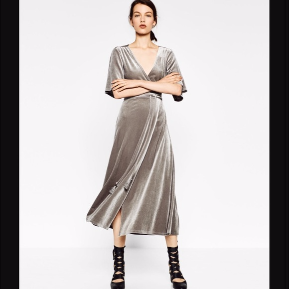 dc76fe9f7f Zara grey velvet maxi wrap dress. M 5967f3102fd0b7149b004134