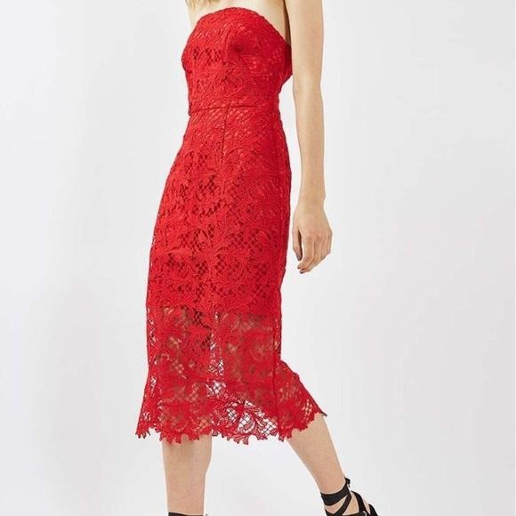 ce89d8e1 Topshop Dresses | Nwt Bandeau Lace Midi Dress | Poshmark