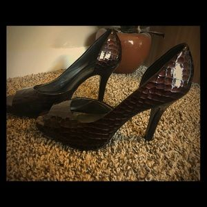 Sexy Brown Faux Snakeskin Jessica Simpson Heels