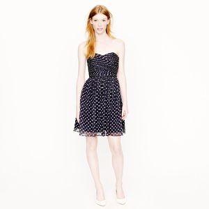 J Crew Navy Polka Dot Silk Chiffon Strapless Dress