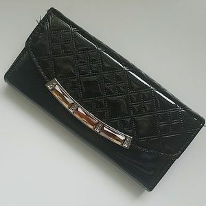 Handbags - Black shiny wallet large with jewels