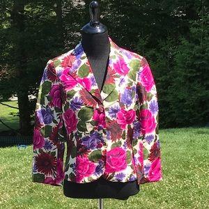 100% Silk Floral Tibi Jacket