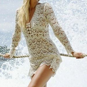 Other - Lace Boho Long Sleeve Beach Bikini Coverup Dress