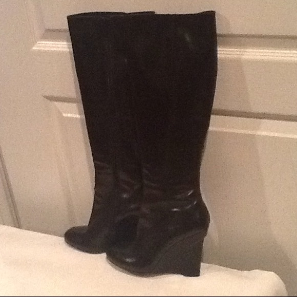 1edbe1fc18f Vera Wang knee high black real leather boots