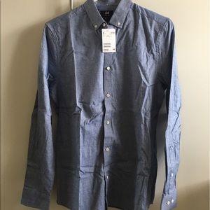 H&M Blue Regular Fit Button Down Shirt