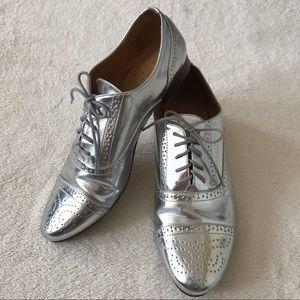 J. Crew Silver Metallic Oxford Shoes