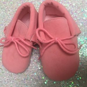 Other - Pink suede vegan moccasins toddler baby 12-18