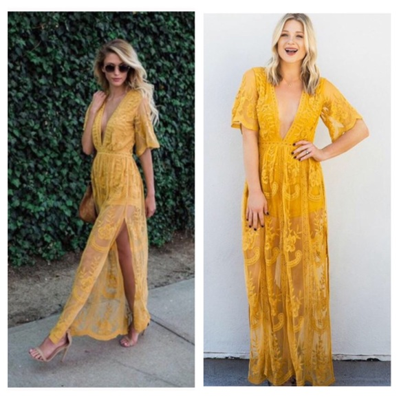 6e3f4fe2af27 Chloe yellow lace maxi dress