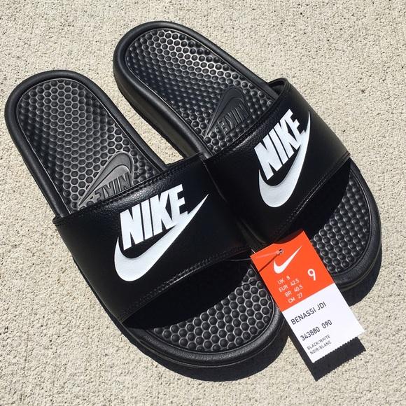 New Nike black sandal athletic slides Sz 9