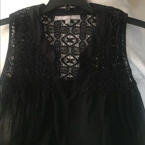 Black sheer tank top with lace on top