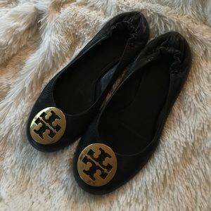 Tory Burch Gold and Black Reva Flats Size